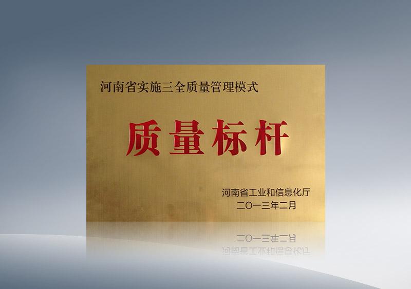河南省實施三全質量管理模式質量標杆2013.2
