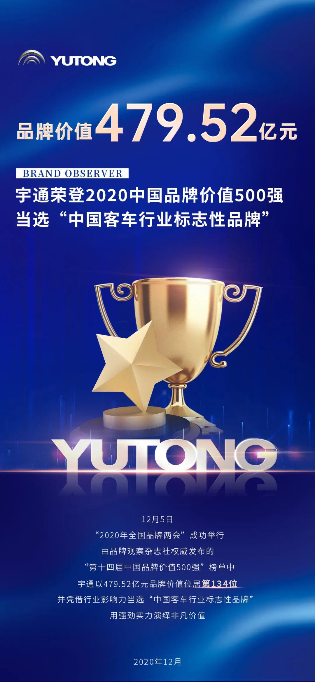 两项大奖!宇通上榜中国品牌价值500强位列行业第一